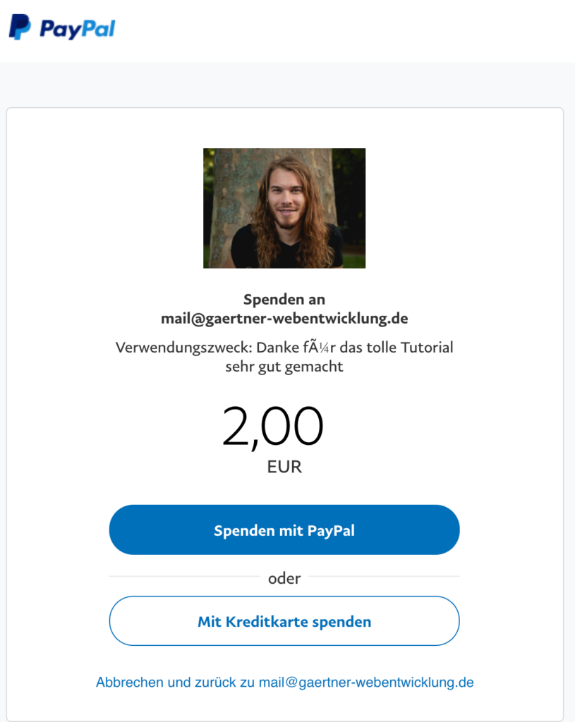 PayPal Spenden Link